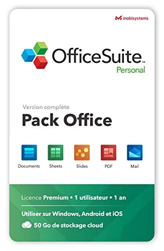 OfficeSuite Personal – Version complète – Documents, Sheets, Slides, PDF, Mail & Calendar pour 1 PC Windows et 2 appareils mobiles / Licence de 1 an