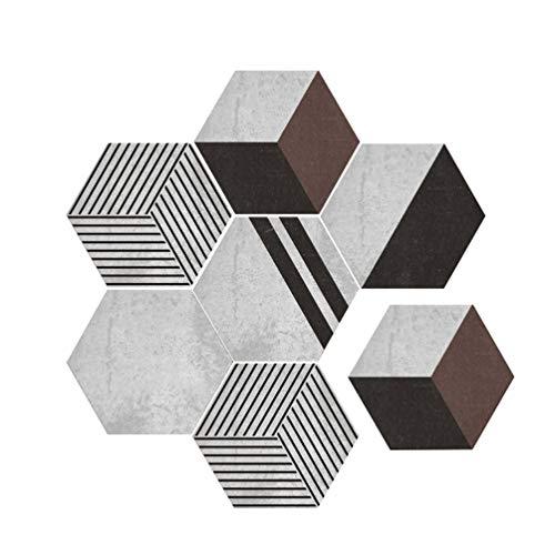 Baijiaye 5 stuks (1 set) zeshoekige verwijderbare muurstickers zelfklevende waterdichte kunststickers keuken badkamer woondecoratie wandtegel Eenvoudig patroon 2# 11.81 * 9.84 * 0.19inch