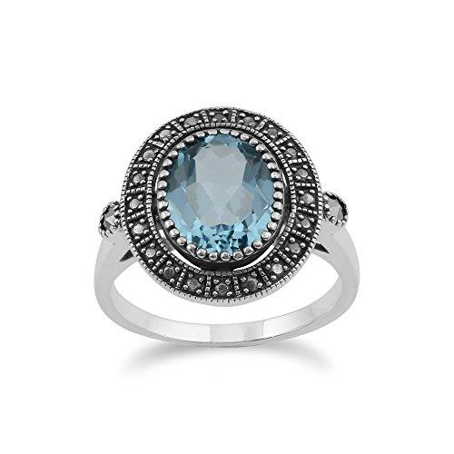Gemondo–Anello in argento Sterling con topazio blu & marcasite cluster in stile antico, Argento, 50 (15.9), cod. 224R029505925__K