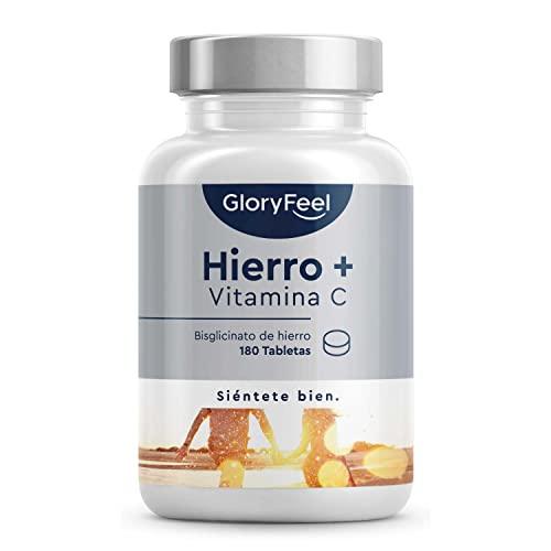 Suplemento de Hierro 40mg con Vitamina C natural - Bisglicinato de hierro de alta calidad (hierro quelado) - Buen sabor gracias al aroma natural de naranja - 180 comprimidos para 6 meses