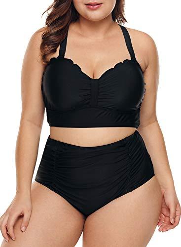 Dearlove Womens Plus Size Swimwear Strappy Scalloped Mermaid Print Push Up High Waisted Bikini Swimsuit 2 Piece Bathing Suits Black XL