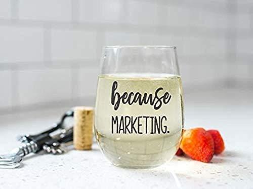 Porque Marketing Sin tallo Copas de vino / té Director de marketing Copas de vino / té Divertido Director de marketing Regalo Director de marketing Regalo Regalo de marketing