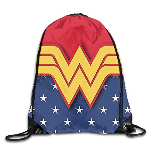 Hdadwy Wonder Woman Mochila con cordón Bolsos de Hombro Deporte Plegable Ajustable Cordón portátil de Viaje Mochila Duradera Niños Niñas Mochilas Escolares Mochilas Escolares Bolsa de Almacenamiento