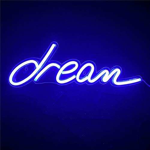 Nordstylee Neon Blue Dream Light Skyltar, LED Dream Nattlampor för barnens present, Vägg, Födelsedagsfest, Jul, Bröllop Dekoration - Blå
