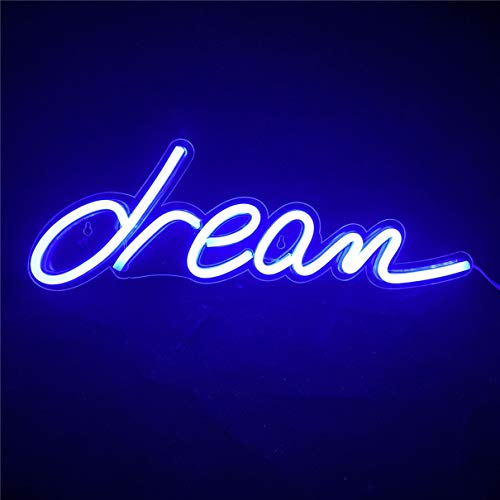 Nordstylee Letreros de luz de sueño azul neón, luces LED de noche de sueño para regalo de niños, pared, fiesta de cumpleaños, Navidad, decoración de boda, color azul