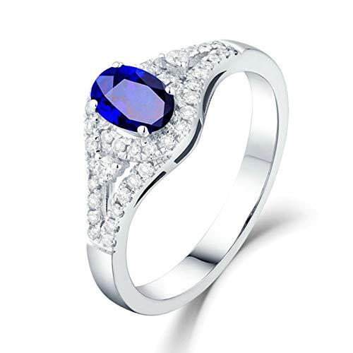 AnazoZ 18K Oro Blanco Anillo de Mujer Azul Anillos de Mujer Oval con Diamante Zafiro Azul Blanco 1.3ct Talla 9,5