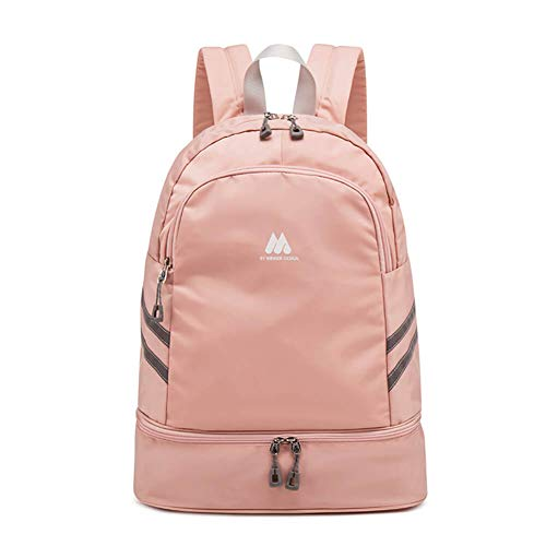 Women Sports Backpack Gym Bag with Shoe Compartment Wet Pocket Travel Backpacks Anti-Theft Pocket Water Resistant Workout Bag (Pink)