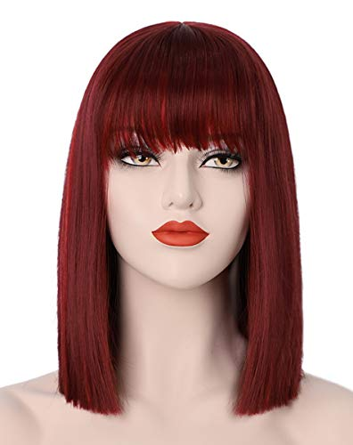 Wine Red Bob Wigs for Women 13'' Short Burgundy Hair Wig with Bangs Natural Fashion Cute Heat Resistant Synthetic Wigs for Daily Party Cosplay Halloween AD016BU