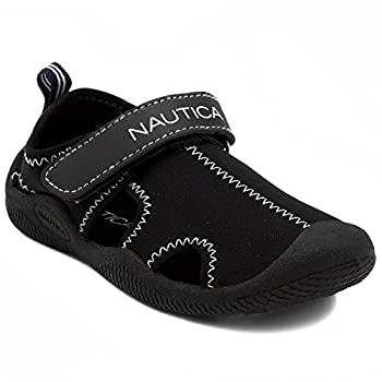 Nautica Kids Kettle Gulf Protective Water Shoe,Closed-Toe Sport Sandal For Boys and Girls-Solid Black-10