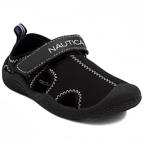 Nautica Kids Kettle Gulf Protective Water Shoe,Closed-Toe Sport Sandal-Solid Black-9