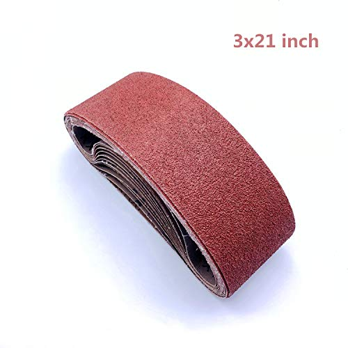 3x21 Belt Sander Sanding Belts, Sandpaper for Belt Sander 3 x 21 | 2 Each of 40/80/120/150/240/400 Grits,18 Pack (3x21 Inch)