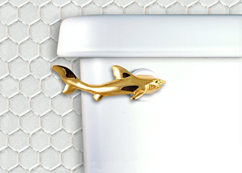 Shark Toilet Flush Handle- Front Mount in Gold Finish