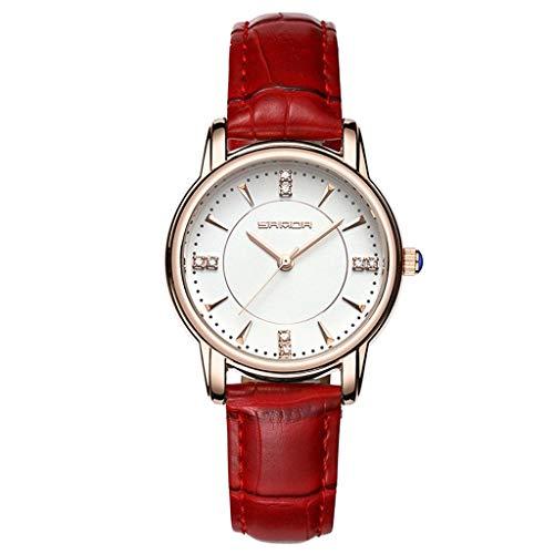 GLEMFOX Dames-kwartshorloge, lederen horlogebandje, casual horloge type en wijzertinestone pols-kwartshorloge, beste cadeau in zes kleuren beschikbaar Riemen. Large rood
