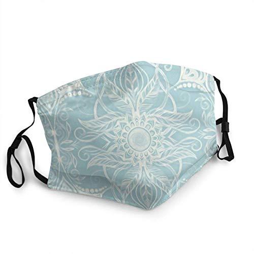 Máscara facial reutilizable con patrón floral en color azul y crema, pasamontañas lavable al aire libre nariz cubierta de la boca de la moda para hombres y mujeres