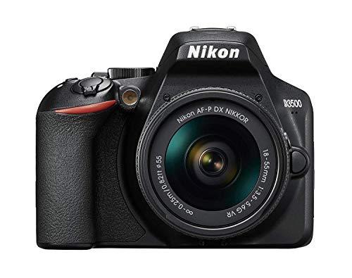 Nikon D3500 - Cámara réflex de 24 MP (Full HD, ISO de 100–25600, sistema de autofoco, modo guía, LCD, SnapBridge) - kit con objetivo AF-P 18/55VR, estuche y libro - Versión Nikonistas