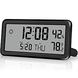 Digital Alarm Clock,Battery Operated Small Desk Clocks,with Date,Week,Indoor Temperature and Humidity,5.8 Inch LCD Wall Clock for Bedroom Home Office Outdoor - Black