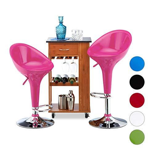 Relaxdays Barhocker 2er Set, höhenverstellbar, drehbar, bis 120 kg, mit Lehne, Barstuhl, HxBxT: 101 x 45 x 40 cm, pink, Kunststoff, verchromter Stahl, 101 x 45,5 x 40 cm