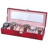 Atyhao Boîte de Montre à 6 Fentes en Cuir PU Rectangulaire Montre-Bracelet Vitrine Organisateur de Rangement Vin Rouge Armoires de Montre