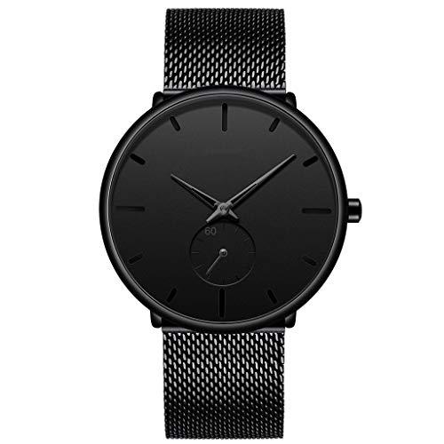 Banda de Acero Inoxidable del Reloj de los Hombres del pequeño dial Movimiento de Cuarzo Reloj de Pulsera 30m 64g a Prueba de Agua Peso (Color : Black)