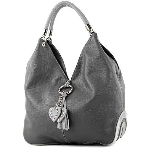 modamoda de - 330 - ital Handtasche Shopper Schultertasche Leder, Farbe:Dunkelgrau/Grau