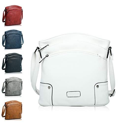 Handtasche Damen - veganes leder- Umhängetasche Weiß , Schultertasche, kleine Tasche - 25x26x5 cm