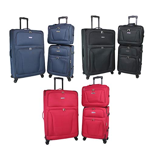 MISC Super Lightweight 3-Piece Spinner Luggage Set - Black Blue Red Solid Polyester Expandable Rolling Lined