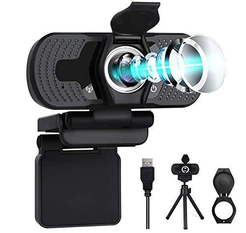 Webcam HD 1080P con microfono Webcam Privacy Cover Webcam con treppiede per computer portatile/computer/desktop Plug and Play Web Camera per Video Chat/Conferenze/Registrazione/Lezioni online/Gioco
