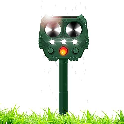 Repellente Solare Ultrasuoni, Sensibilità e Frequenza Regolabili IP66 Gatti Solare Repellente Zanzare 5 modalità per Giardino Anti-Talpe, Arvicola, Gopher, Topi e ratti, Serpent