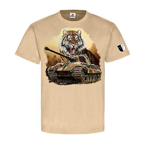 Lukas Wirp Königstiger Tiger II Panzer Köti Kunst Gemälde T Shirt 1#23469, Größe:XXL, Farbe:Sand