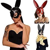 Frecoccialo Máscara de Conejo Mujeres Sexy máscara Negra Adulto con Orejas de Conejo, para Disfraz de Carnaval, Halloween, Disfraz, Cosplay (Negro, Unica)