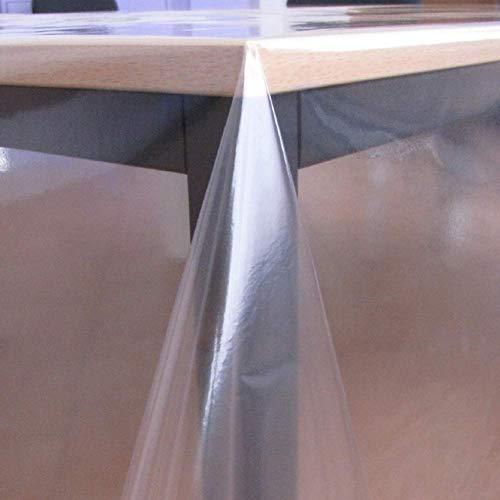 KEVKUS Tischfolie Tischdecke glasklar durchsichtig transparent 0,3 mm wählbar in eckig rund oval (Rand: Schnittkante (ohne Einfassung), 140 x 180 cm eckig)