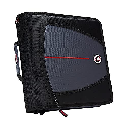 Case-it The Mighty Zip Tab Zipper Binder - 3 Inch O-Rings - 5 Pocket Expanding File Folder - 600 Sheet Capacity – Black