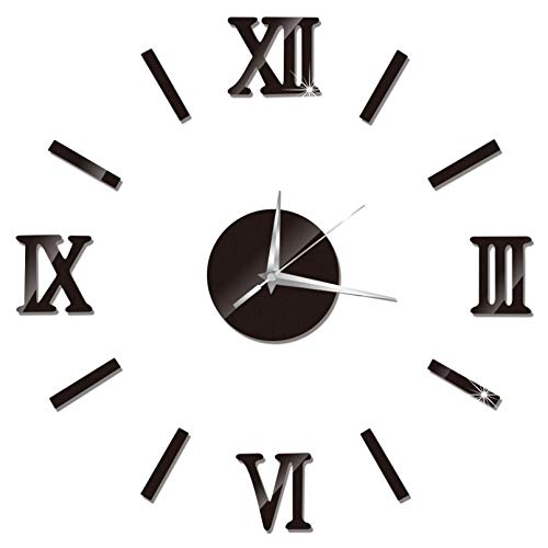 LKOER DIY Modern Wall Clock Acrylic Mirror Relojes de Pared 3D Etiquetas de Pared Relojes de Cuarzo Reloj de la Sala de Estar Decoración de la casa de la Deca jinyang (Color : Black)
