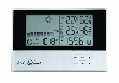 Cresta PWS500 Piet Paulusma Digitale Kabellose Wetterstation, Wettervorhersage, Luftdruck, Mondphase, Luftfeuchtigkeit, Funkuhr mit doppelter Weckfunktion silber