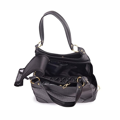 Elegant Embossed Leather Purse Carrier Black for Small Dogs Cats Teddy Poodle Pomeranian PBB02