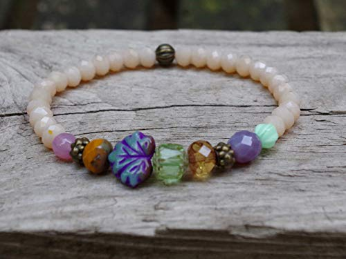 NEU!!! Armband mit böhmischen Glasperlen - beige opal, bunt, lila, grün, rosa, honig & bronze - Blatt, Glasblatt