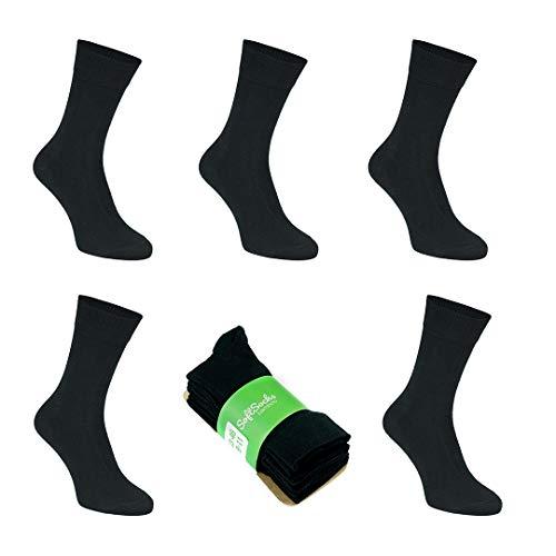 SoftSocks Negro calcetines de bambú súper suaves para él y para ella, comodidad óptima: ideal para negocios, deporte y ocio, ¡paquete de 5! TRANSPIRABLES! (47-50)