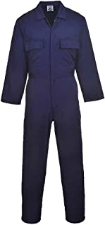 Portwest Euro Work Men's Polycotton Coverall , Tall Trouser Length, Colour: Navy, Size: L, S999NATL