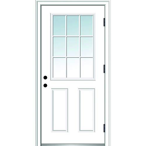 "National Door Company ZZ364576L Fiberglass Smooth, Primed, Left Hand Outswing, Prehung Door, 9 Lite 2-Panel, Clear Glass, 30""x80"", Fiberglass"