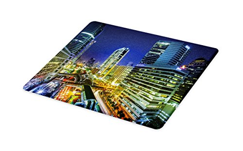 Lunarable Urban Cutting Board, Bangkok City Night View Highways Buildings Traffic Modern Business Theme, Decorative Tempered Glass Cutting and Serving Board, Small Size, Navy Blue Green Yellow