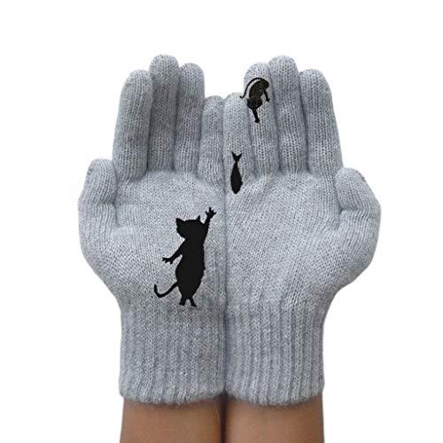 GHTGHTS Damen Winter Dicke Warme Strickhandschuhe Cartoon Katze Fisch Unregelmäßige Patchwork Fäustlinge