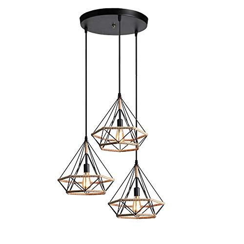 BUNUMO - Lámpara Colgante Industrial con 3 Luces, Pantalla Colgante de Techo Vintage en Forma de Jaula Dimant con Cuerda de cáñamo, luz metálica E27 para Dormitorio, Come