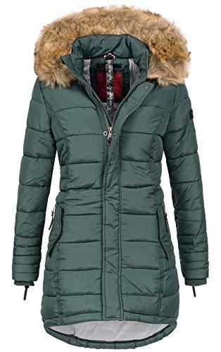 Navahoo Papaya Damen Winter Jacke Steppjacke Mantel Parka gesteppt warm B374 (L, Forest Green)