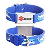 linnalove Cartoon Medical Alert id Epilepsy Bracelets Parents Gift to Son, Daughter, Brother, Sister-Dolphin
