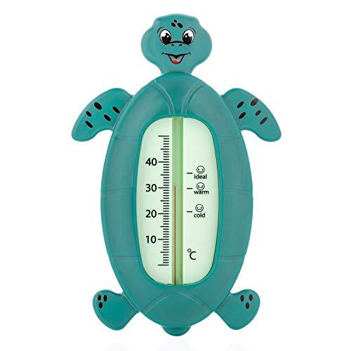reer Schildkröte Baby-Thermometer für die Badewanne, kindersicheres Bade-Thermometer, grün