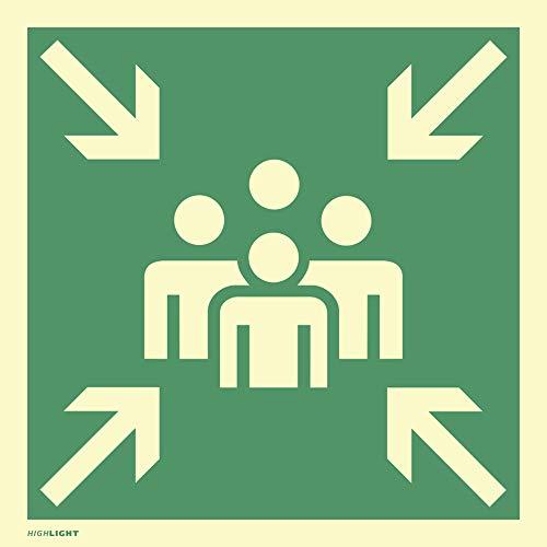 Schild Sammelstelle HIGHLIGHT gemäß ASR A1.3 Alu langnachleuchtend 20 x 20 cm (Fluchtweg, Sammelpunkt, Sammelplatz) wetterfest