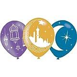 Amscan 9903728 - Luftballons Eid Mubarak, 6 Stück, 3 verschiedene Motive, Fastenbrechen, Dekoration
