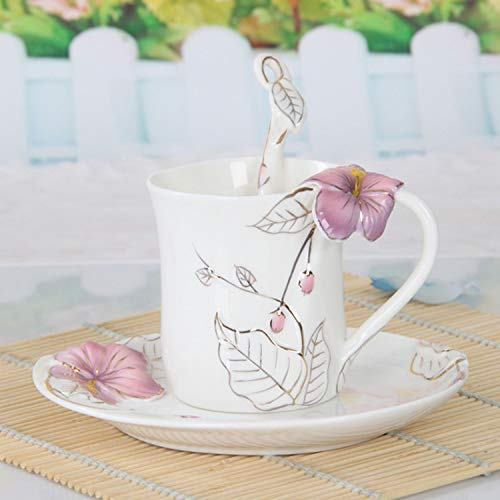 Tasse À Café en Porcelaine De Tasse À Café en Forme De Tasse, Tasse/Tasse en Porcelaine Tendre avec Forme De Fleur Simple, Couleur À La Main, Café, Maison, Cadeau