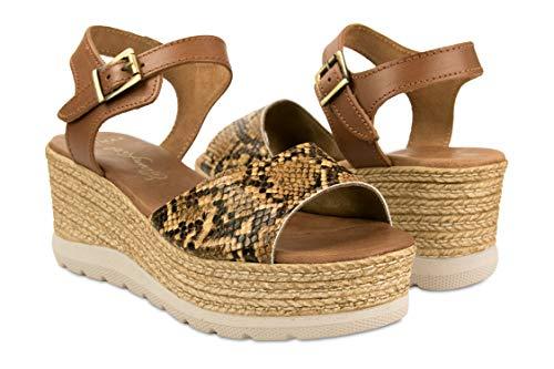 Zerimar Sandalias Mujer | Sandalia Plataforma Mujer | Sandalias Cuero Cuña | Zapatos Cuñas Mujer Cuero |...