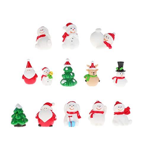 Amosfun 13 stücke Weihnachten Miniatur Ornamente Desktop Handwerk Micro Landschaft Harz Weihnachten X'Mas Decor kleine Ornamente schneemann weihnachtsmann Weihnachtsbaum(zufällig)